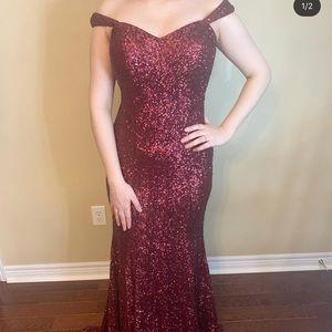 Deep red sequin off the shoulder prom dress